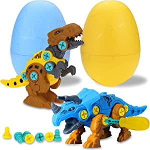 TOPBRY Take Apart Dinosaur Toys for Kids, 2 Pack Dino Set with Tools, STEM Learning Play Kit for Age 3 4 5 6 7 Year Old Boys Girls