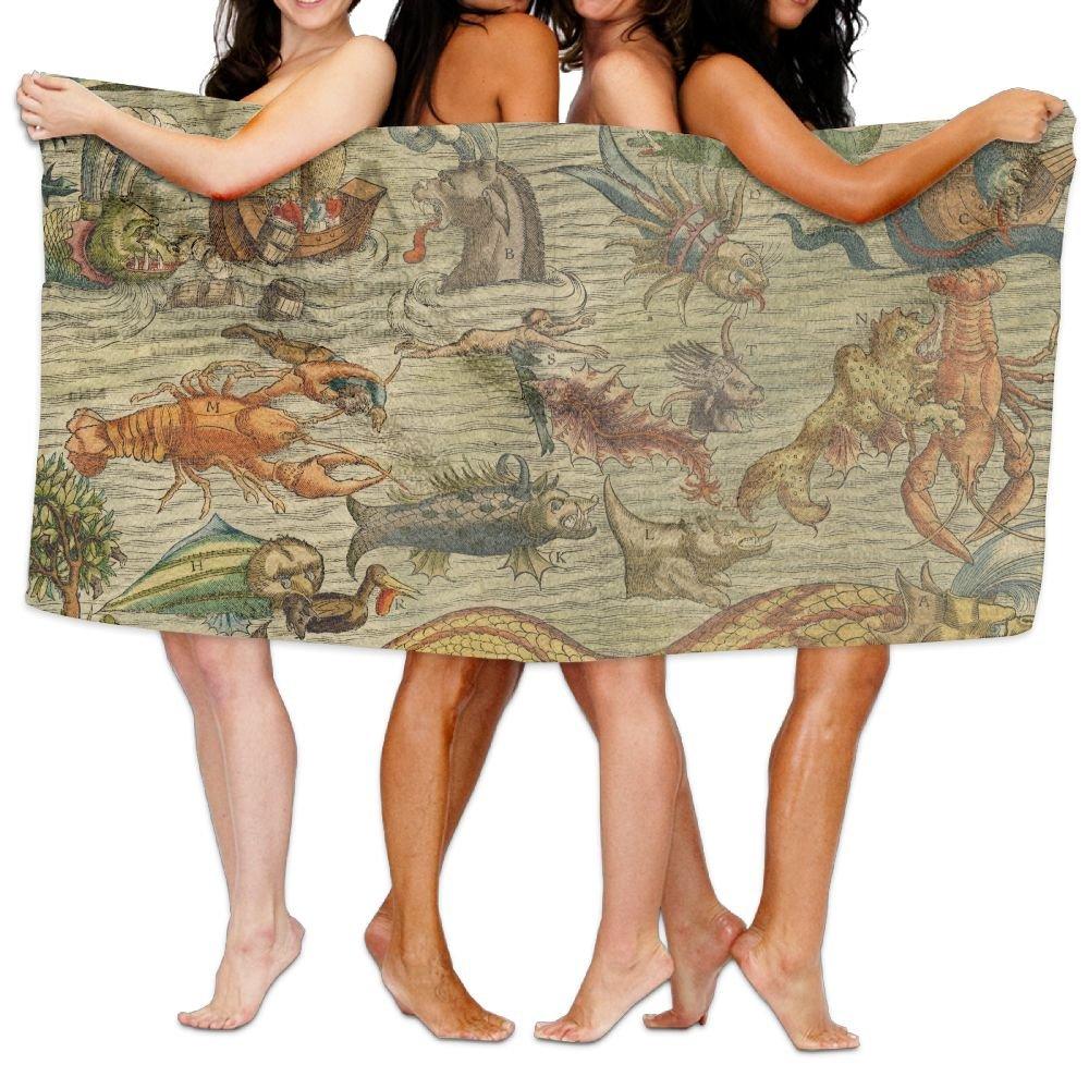 PengMin Marine Animal Pirate Premium 100% Polyester Large Bath Towel, Pool And Bath Towel (80'' X 130'') Natural, Soft, Quick Drying