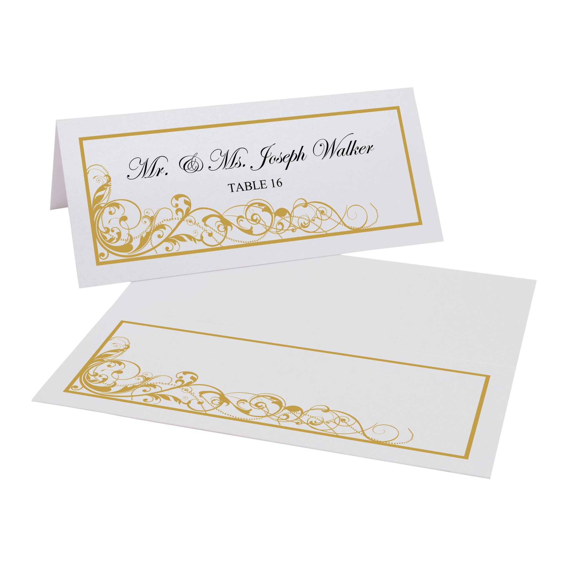 Scribble Vintage Swirl Easy Print Place Cards, Pearl White, Gold, Set of 175 (44 Sheets)