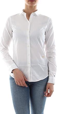 Tommy Hilfiger WW0WW25269 Essential Shirt Camisa Mujer White 8/L: Amazon.es: Ropa y accesorios