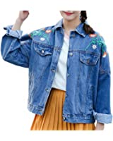 Embroidery Floral Denim Jacket For Women Long Sleeve Casual Casacos Feminino Loose Abrigos Mujer Spring Female