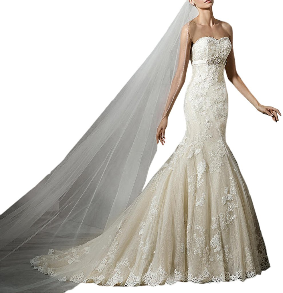 (ウィーン ブライド) Vienna Bride ウェディングドレス 花嫁ドレス ドレス レース ブライダル ふんわりとする裾 編み上げ ハイネック 透け感 オープンバック ウエストニッパー アップリケ B01N5OAJMD 17W|アイボリーH アイボリーH 17W