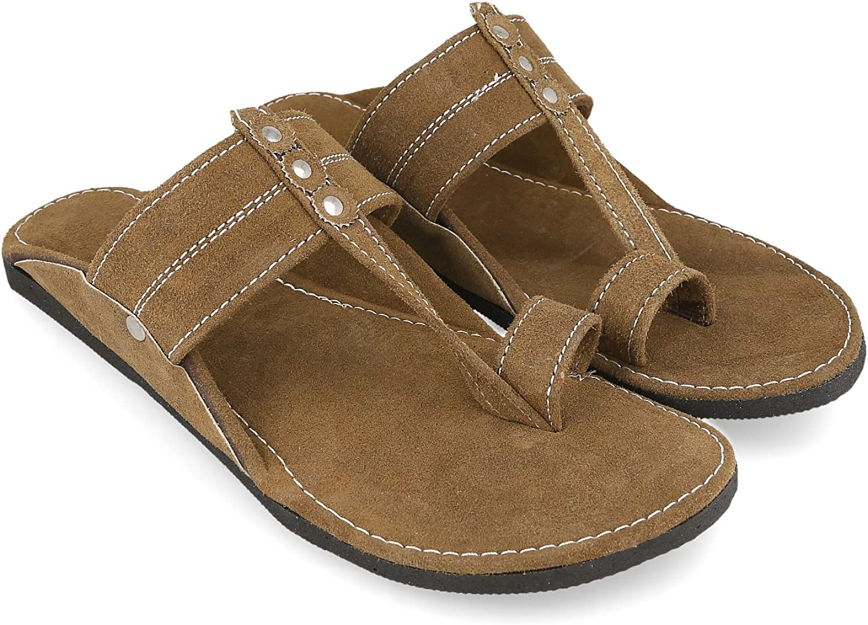 KALAKARINDIA Men Kolhapuri Design Brown Leather Ethnic Mojari Slipper