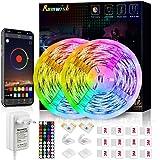 Tiras LED 10M, Romwish 5050 SMD RGB 300 LEDs con Control Remoto RF de 44 Botones & Control Bluetooth,para la Habitación…