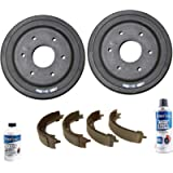 Detroit Axle - Pair (2) Rear Brake Drums w/Ceramic Shoes w/Brake Cleaner & Fluid for 2009 2010 2011 2012 2013 Chevy…