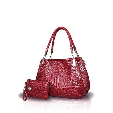 366801b85ac5 Nicole Doris New Crocodile Grain PU Leather Women Ladies Shoulder Bag  Handbag Crossbody Totes Large Bag