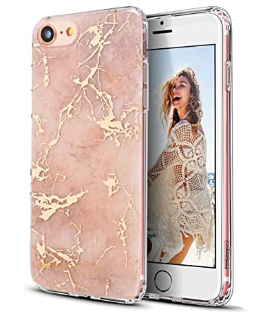 iPhone 7 Case,iPhone 8 Case,Spevert Marble Pattern Hybrid Hard Back Soft TPU Raised Edge Ultra-Thin Shock Absorption Slim Protective Case for iPhone ...