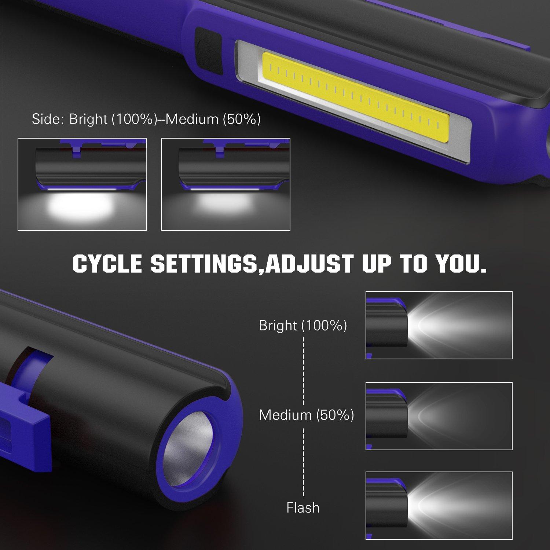 Housolution Linterna de Trabajo LED 2-en-1 Luz de Trabajo COB Linterna Trabajo L/ámpara de Inspecci/ón con Clip Magn/ético para Hogar Autom/óvil y Acampar Naranja Taller
