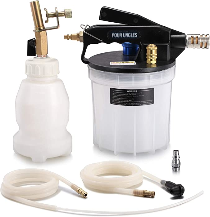 FOUR UNCLES 2L Vacuum Brake Bleeder Air Brake Bleeder Kit with 2L Brake Fluid Extractor and 1L Refilling Bottle