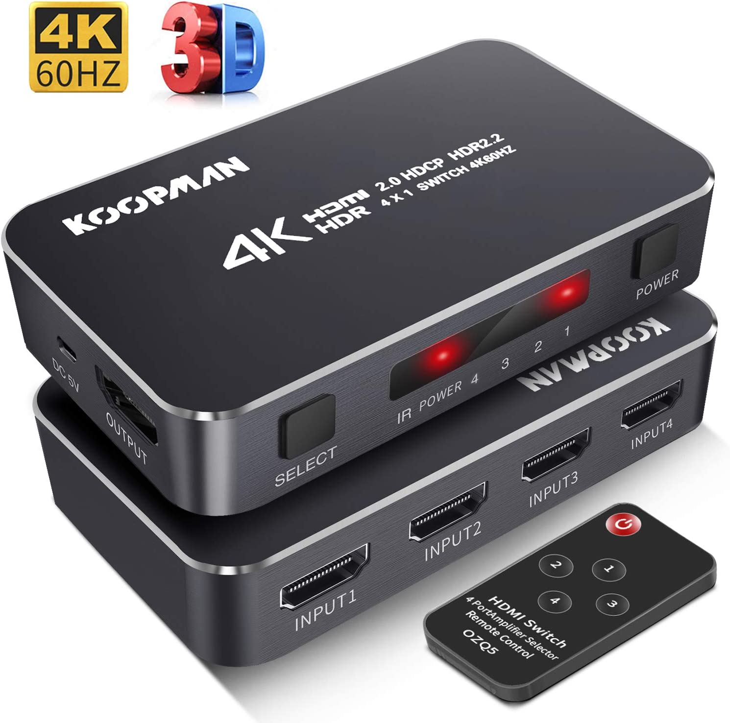 4K HDR HDMI Switch, Koopman 4 Ports 4K 60Hz HDMI 2.0 Switcher Selector with IR Wireless Remote, Supports UltraHD Dolby Vision, High Speed(Max to 18.5Gbps), HDR10, HDCP 2.2 & 3D