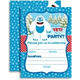 Abominable Snowman Adorable Yeti Winter Birthday Party Invitations 20 5x7 Fill