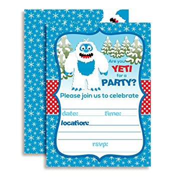 Amazon abominable snowman adorable yeti winter birthday party abominable snowman adorable yeti winter birthday party invitations ten 5quotx7quot fill filmwisefo Image collections