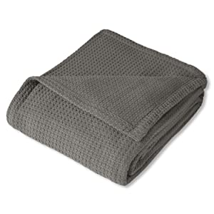 Sweet Home Collection 100% Fine Cotton Luxurious Basket Weave Blanket, Dark Gray