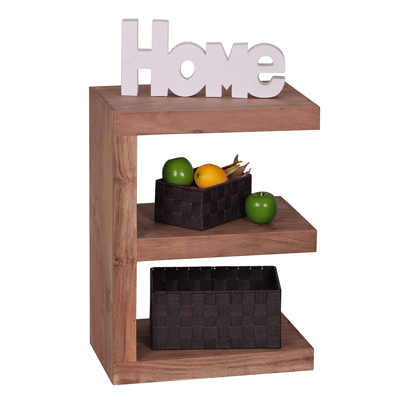 FineBuy Beistelltisch Massivholz Akazie E Cube 60 cm Wohnzimmer-Tisch Design braun Landhaus-Stil Couchtisch Natur-Produkt Standregal Unikat Zeitungshalter Massivholzmöbel Echtholz Anstelltisch