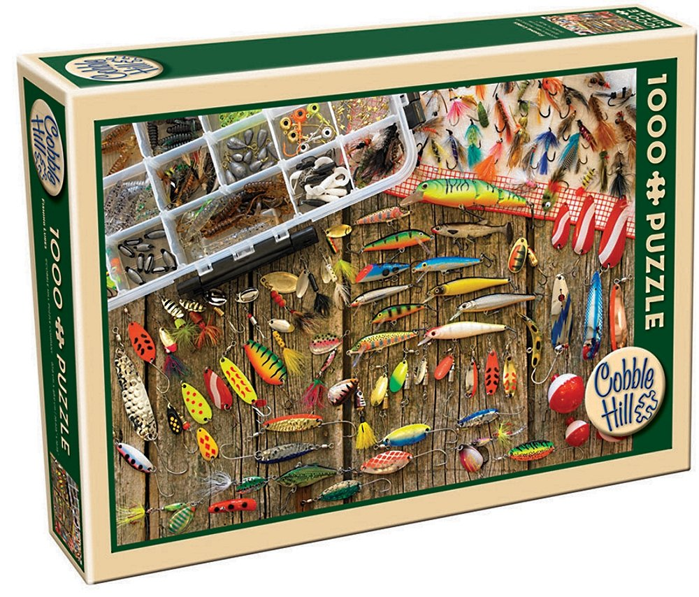 Freshwater fish jigsaw puzzles - Amazon Com Cobble Hill Fishing Lures Jigsaw Puzzle 1000 Piece Game Toys Games
