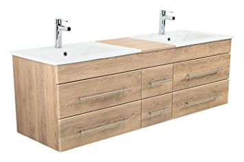 Emotion Meuble Salle De Bain Double Vasque Roma Xl Decor Chene