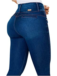 Rose Distressed Butt Lifting Ripped Colombian Jeans Levanta Cola by Draxy Blue