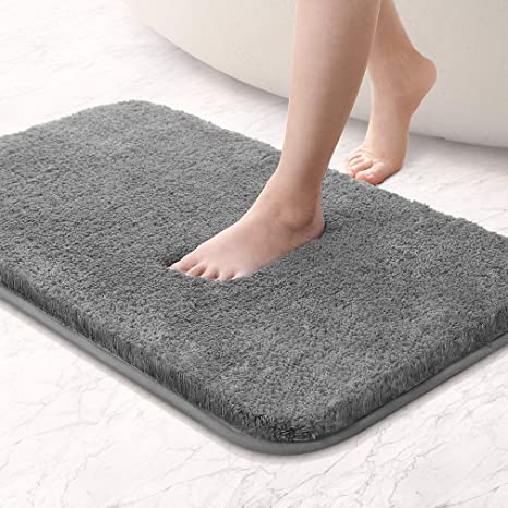Amazon Com Vanzavanzu Bathroom Rugs 20 X32 Ultra Soft Absorbent Non Slip Fluffy Thick Microfiber Cozy Grey Bath Mat For Tub Shower Bathroom Floors Accessories Dark Gray Home Kitchen