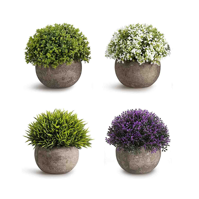 CEWOR 4 Pack Artificial Mini Plants Plastic Mini Plants Topiary Shrubs Fake Plants for Bathroom,House Decorations (Multicolored)
