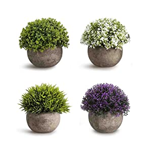 CEWOR 4 Pack Artificial Mini Plants Plastic Mini Plants Topiary Shrubs Fake Plants for Bathroom,House Decorations (Multicolored)