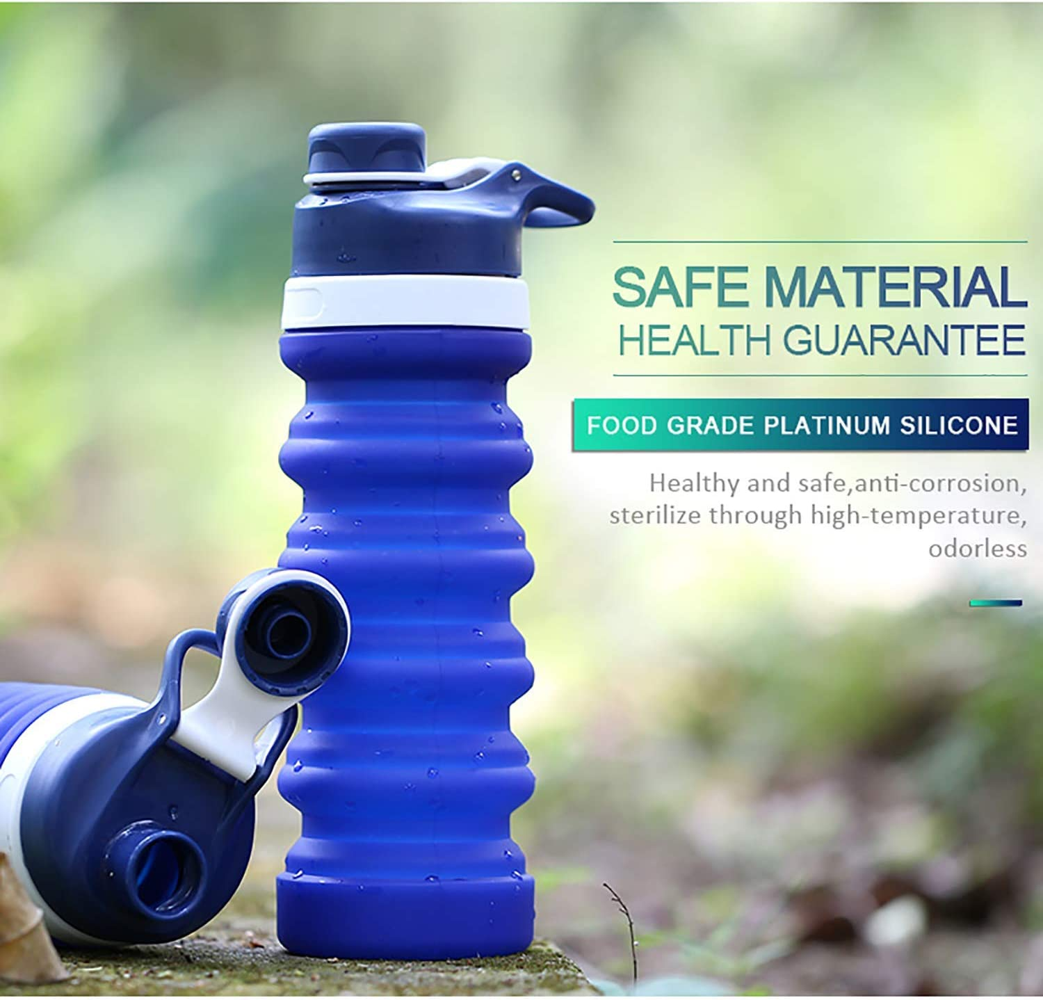 Portable Foldable to Small Mini 8 Oz 0.35 Lb Healthy 20 Oz Cute Leak Proof Lightweight BPA-Free Silicone for Outdoors Collapsible Water Bottle Camping Hiking Travel Sports Water Bottle