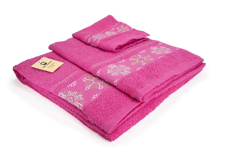 (SOFT FUCSIA) REGALITOSTV Juego de toallas baño 3 piezas (1 toalla baño, 1 toalla de manos y 1 toalla cara) 100% algodón, calidad 500g, varios colores, ...