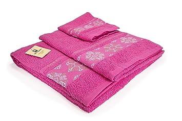 (SOFT FUCSIA) REGALITOSTV Juego de toallas baño 3 piezas (1 toalla baño,
