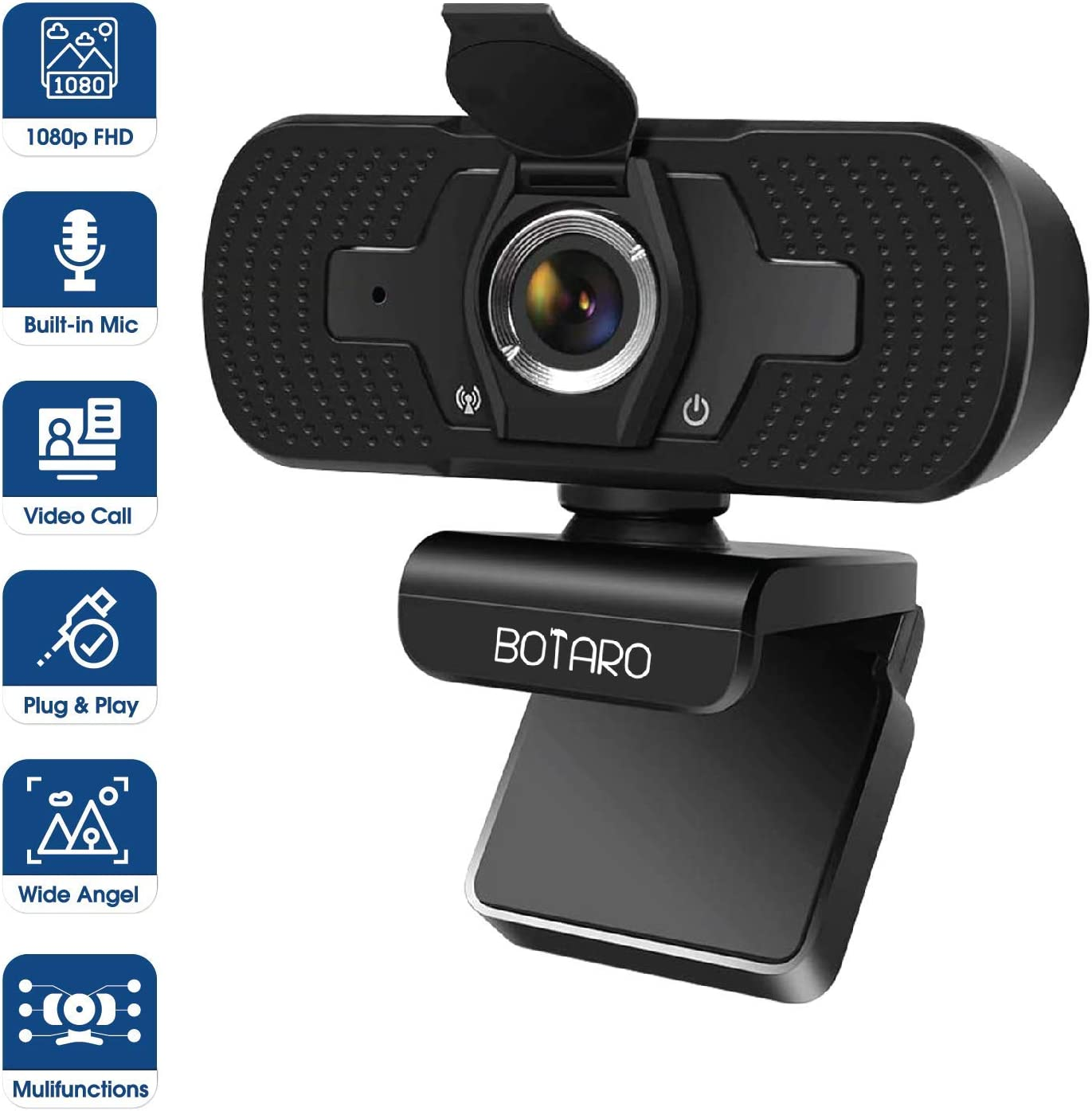 Widely Compatible Webcam for PC TV Privacy Cover Web Camera with 1080P Full HD Quality Laptop Modern Plug and Play Webcam BOTARO 1080P USB Webcam with Microphone