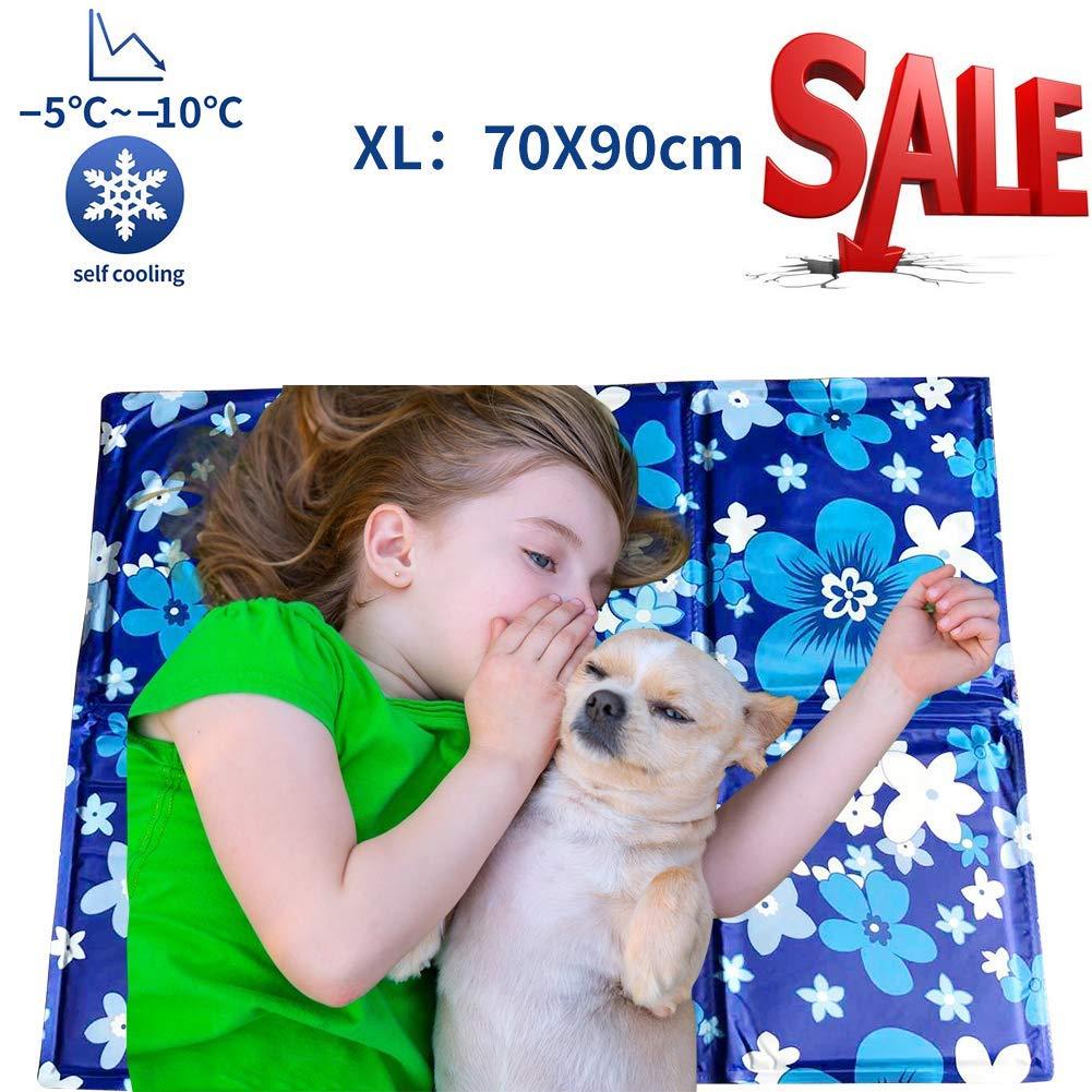 Alfombrilla de Refrigeración Animales Nevera y Manta para Perro Fresco Cojín Azul Nevera Techo Camas de Suelo Couch Zwinger Auto 70X90 cm