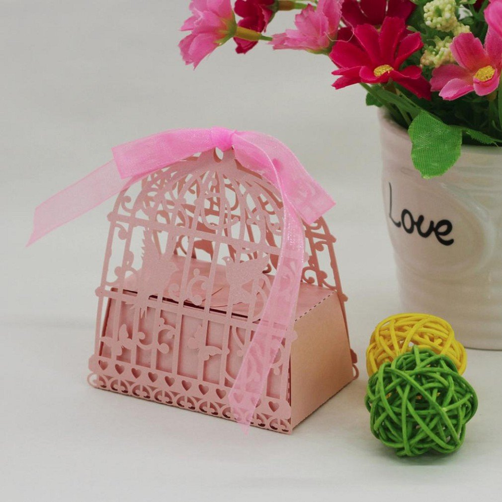 Amazon.com: 50PC Candy Box, Morecome Birdcage Flowers Laser Cut ...