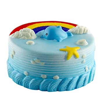 Amazon BeYumi Squishy Toy Jumbo Rainbow Dolphin Cake Cream