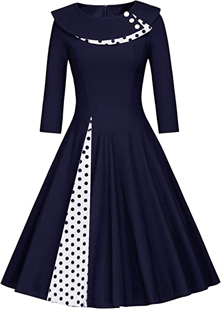JIER Damen 9erJahre Langarm Rockabilly Kleid Vintage Kleid
