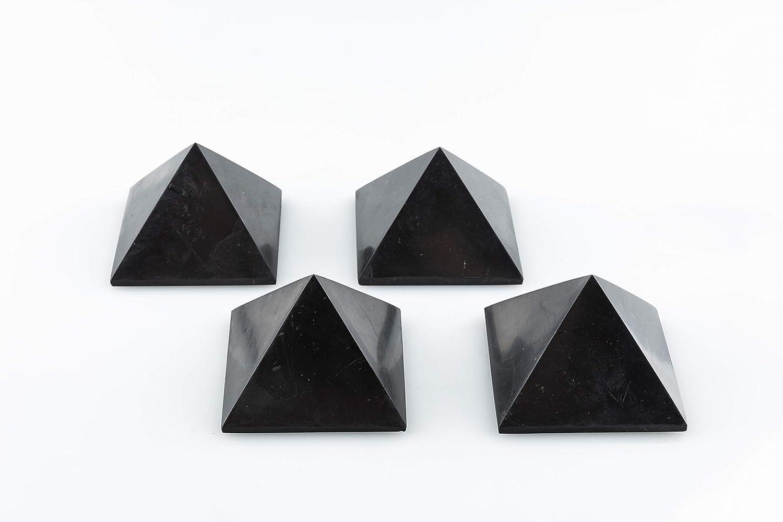 SN NATURSTEIN UG - Pirámides Shungit pulidas | Gema y Piedra curativa originaria de Carelia - Protección contra radiación EMF - 5 cm x 4
