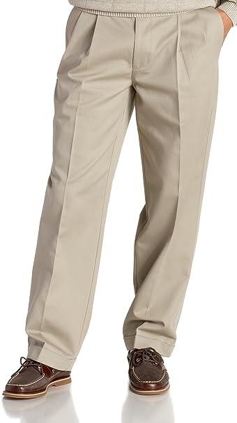 IZOD MENS khaki or BLACK DRESS PANTS SLACKS WRINKLE FREE double pleated all size