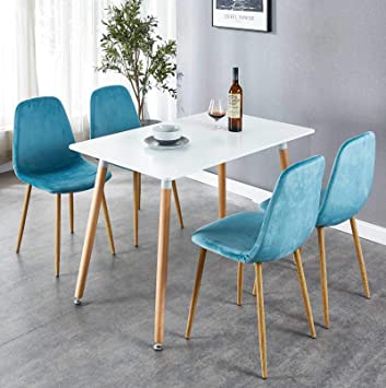 Amazon Com Okakopa 43 3 5 Piece Dining Table Set Mid Century Modern Rectangle Table For Kitchen And 4 Dining Room Chairs With Metal Legs White Blue 5 Pcs Set Table Chair Sets