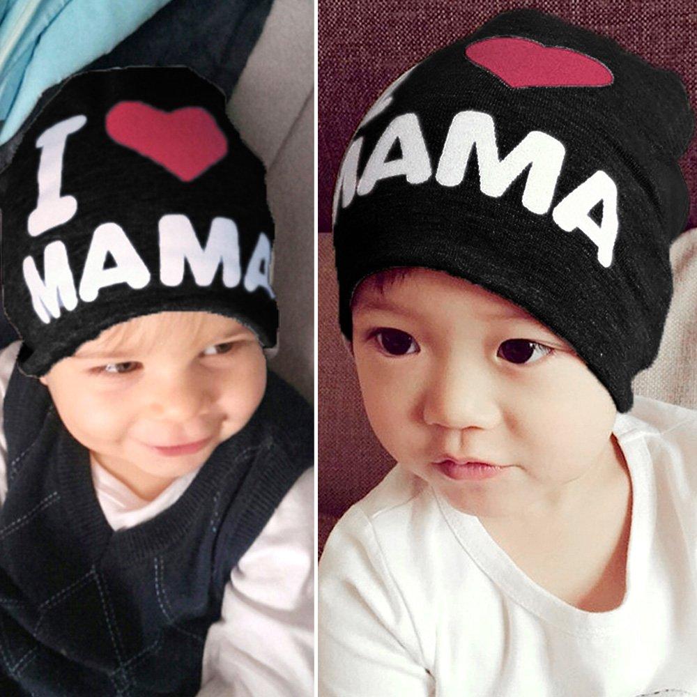 2 PCS Unisex Carino Bambini Bambino Neonato Cappello a Maglia Inverno Caldo Cotone Cap Nero