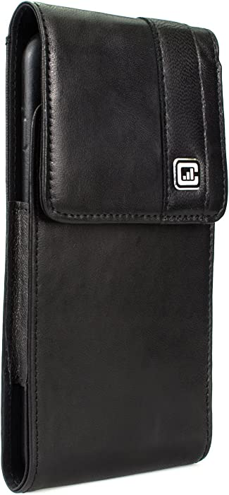 [Gorilla Clip] CASE123 MPS Mk II TLS Premium Genuine Leather Oversized Vertical Swivel Belt Clip Holster for Apple iPhone Xs Max for use with Apple Leather Case, Slim Covers, and TPU Cases