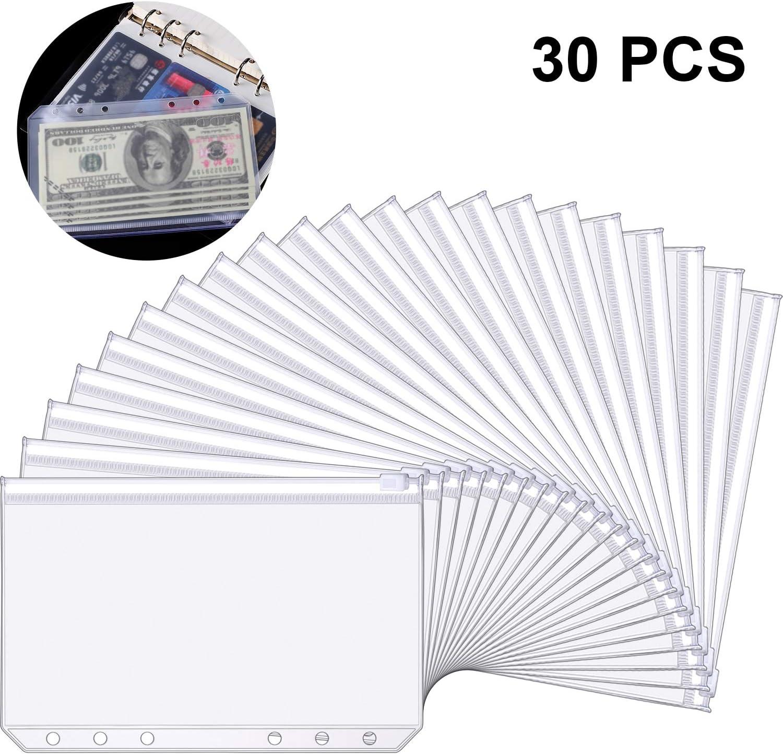 Bolsas de Carpeta de 6 Agujeros de Tamaño A6 Carpetas de Plástico de Cremallera Bolsas Impermeables de Hojas Sueltas de Cremallera de 6 Agujeros para Documentos Cuadernos Tarjetas(30 Paquetes)