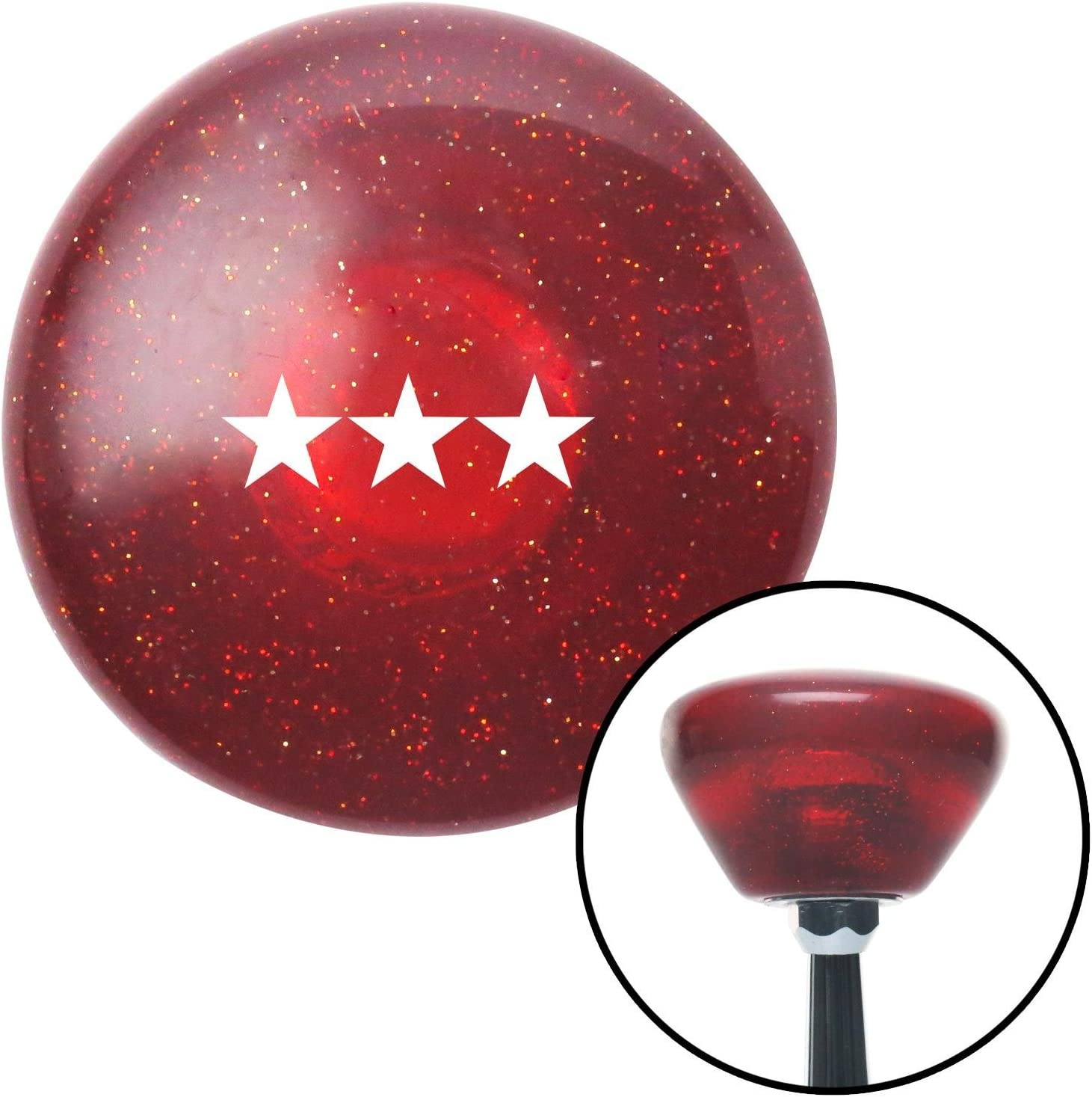 American Shifter 198646 Red Retro Metal Flake Shift Knob with M16 x 1.5 Insert (White Vice Admiral)