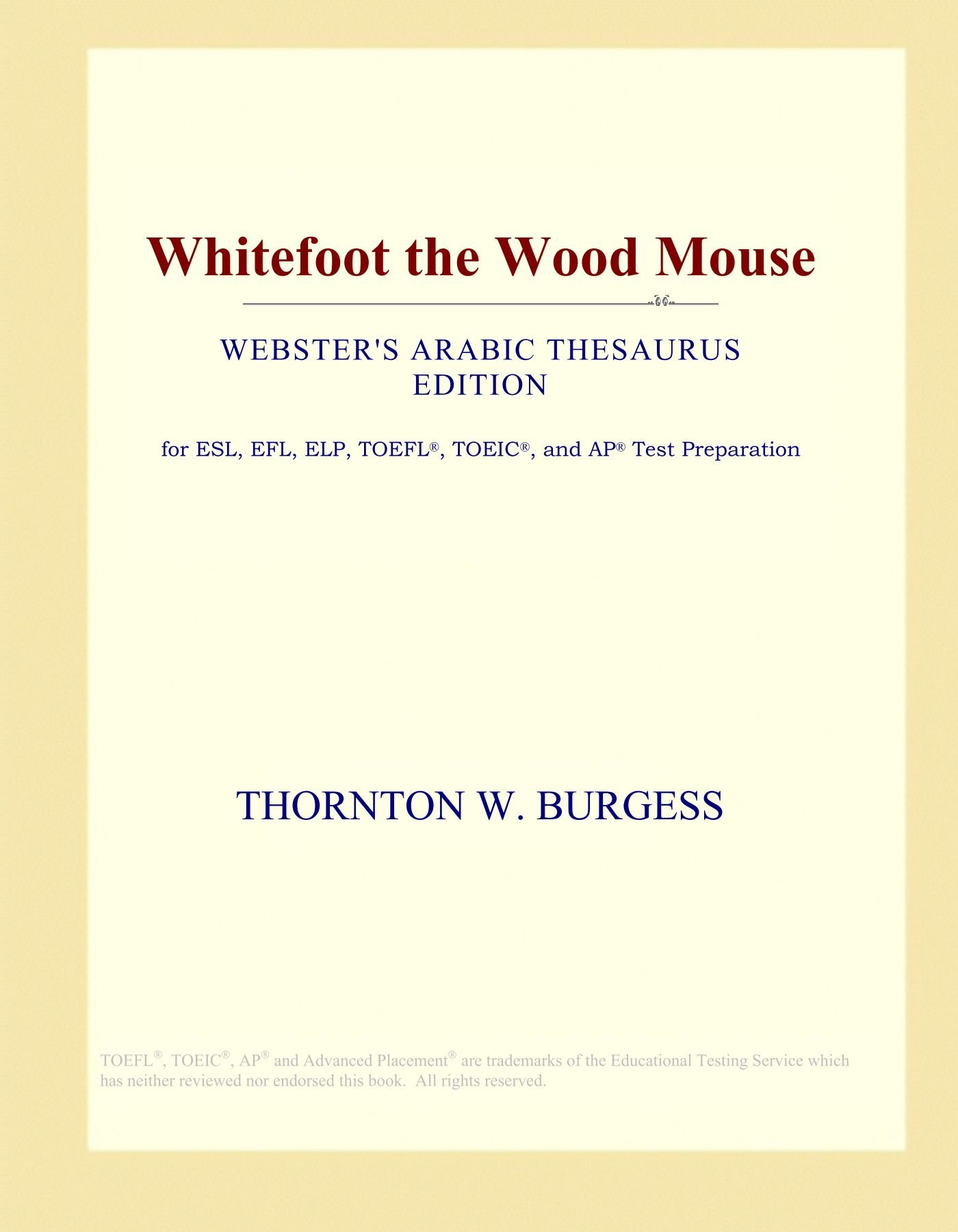 Whitefoot the Wood Mouse (Webster's Arabic Thesaurus Edition): Icon Group  International: Amazon.com: Books