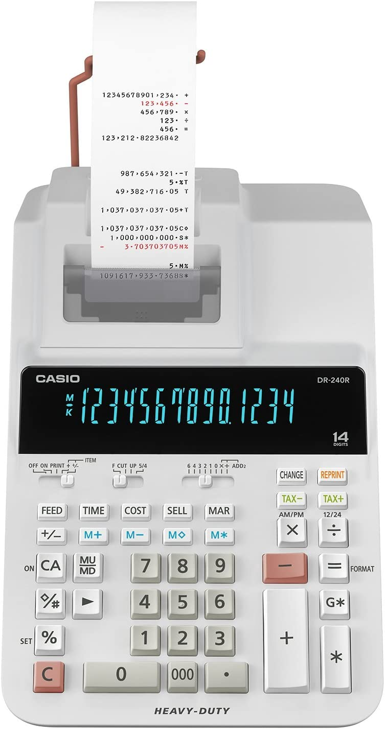 カシオ プリンター電卓 14桁CASIO DR-240R-WE
