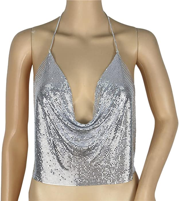 2018 Women Sexy V-Neck Tank Halter Backless Chain Vest Sequined by