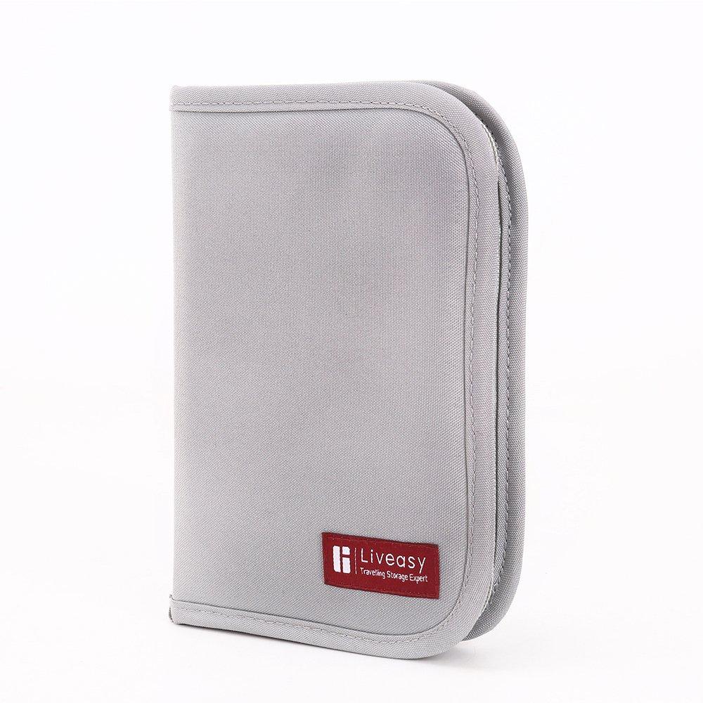 Liveasy Portable Passport Wallet, Travel Document Organizer, Passport Bag, Cash Holder, Credit Card Purse, Made with Durable Waterproof Nylon Fabric (Cherry Red)