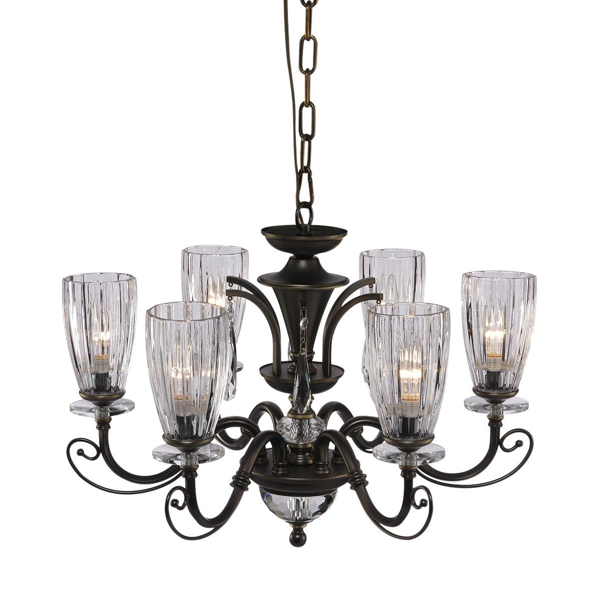 QIRUI Luxury Retro Iron Chandelier Fixture With E12 Lamp Sockets,Ceiling Lighting Holder With Transformer and Lampshade,Decoration for Home Hotel Hall Restaurant 8672-6