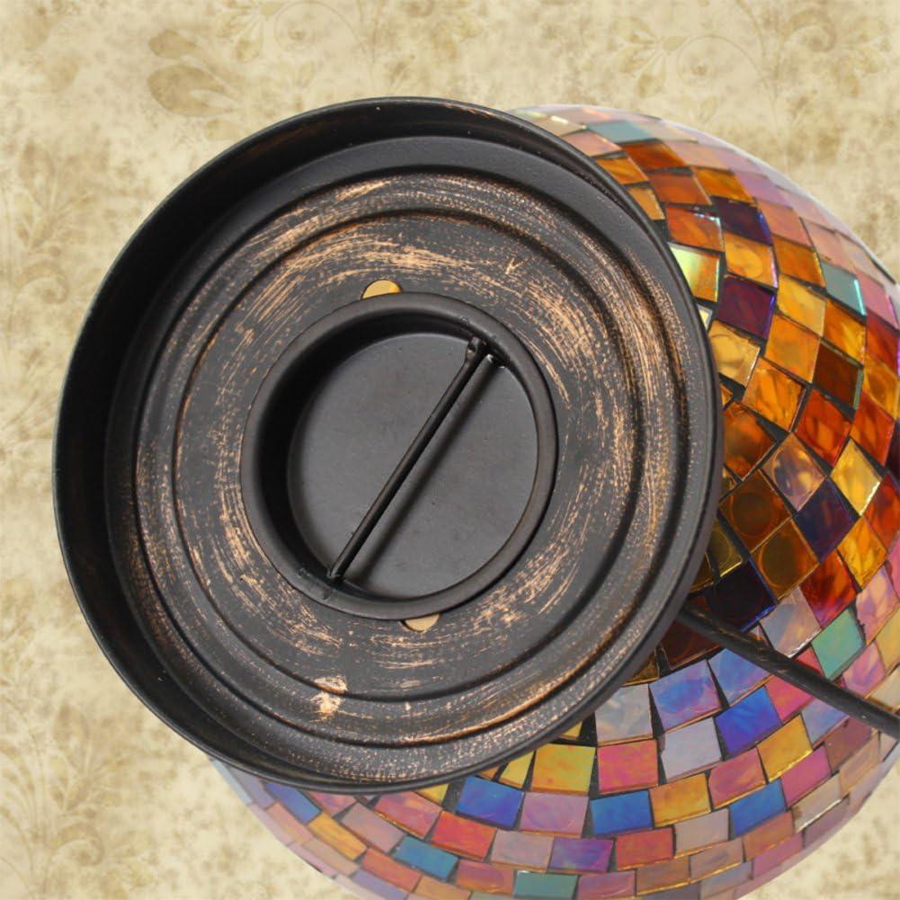 Wangs Grosse Kerzenstander Kerzenhalter Retro Tischleuchter Eisen Glas Mosaik Kerze Outdoor Wind Lampe A Amazon De Kuche Haushalt