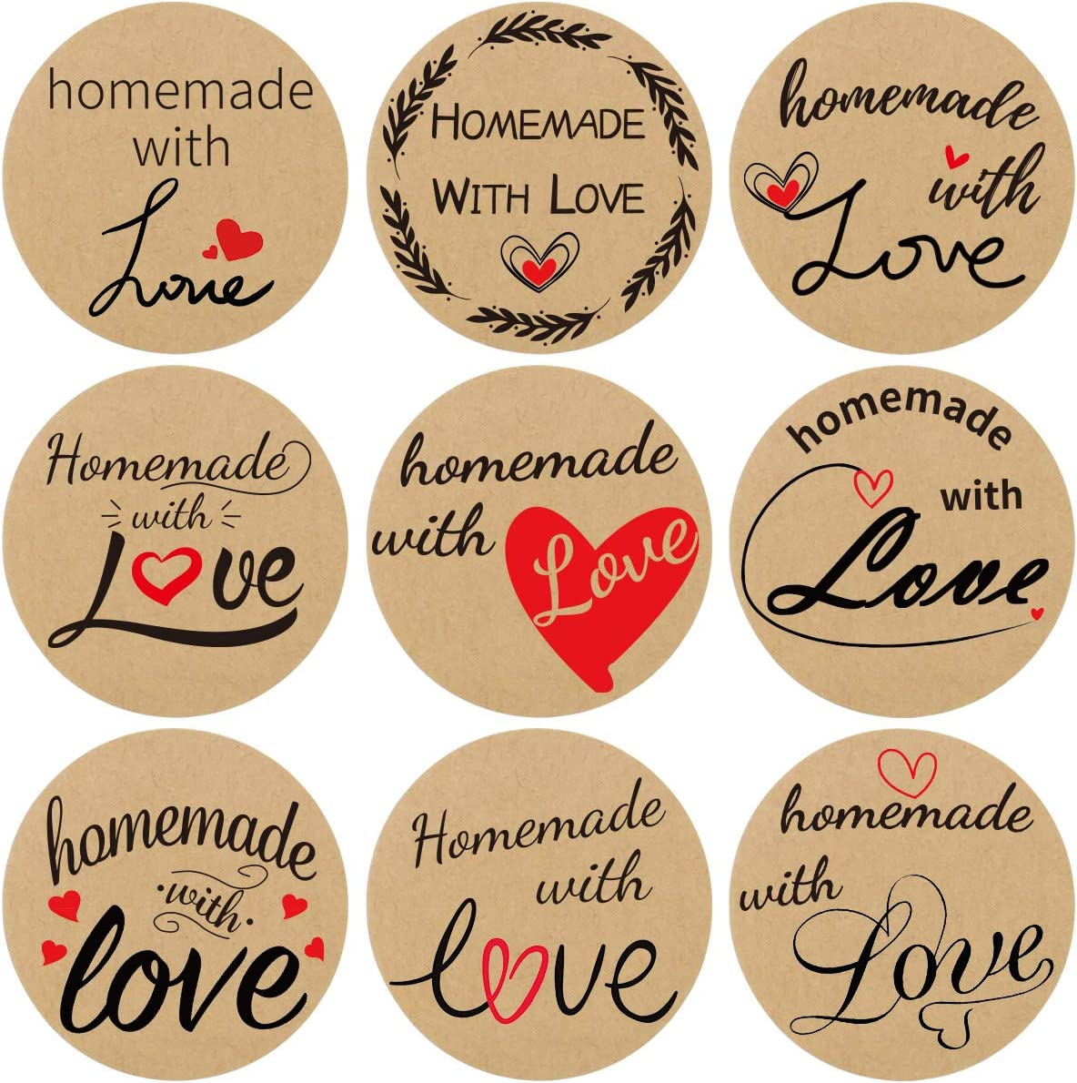 500Pcs Homemade with Love Stickers Perforated Roll Sticker Labels Home Kitchen Stickers 1.5 Inch 9 Designs