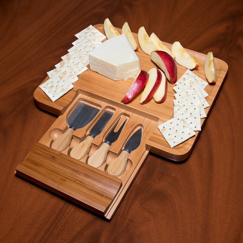 Bamboo Serving Tray with Hide-Away Utensil Set