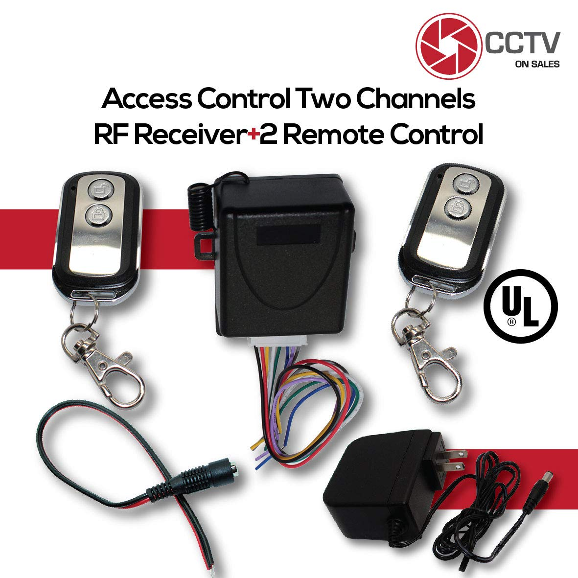 Access Control 2 Mini 315mhz Wireless Fixed Code Remotes with Two Channels RF Receiver Momentary Switch, One DC Power Plug Female Connector and One 12VDC 2Amps UL Certified Power Supply Kit