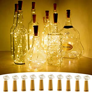 CYLAPEX 10 Pack Wine Bottle Lights with Cork, 20 LED Wine Bottle with Lights on Copper Wire, LED Cork Lights for DIY of LED Decoration, Wedding Centerpiece, Party, Christmas, Halloween, (Warm White)