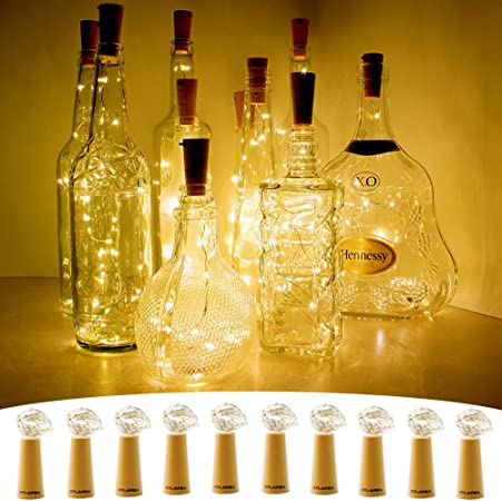 Amazon.com : CYLAPEX 10 Pack Wine Bottle Lights with Cork, 20 LED ...